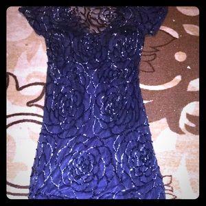 NWOT Aidan Mattox long dress navy blue size 2